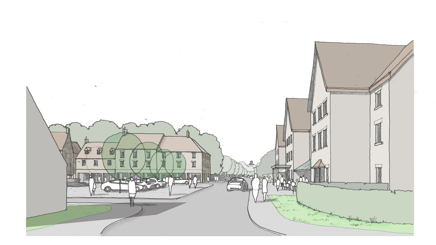 Flaxby Proposed Village Square View 3 1400x787