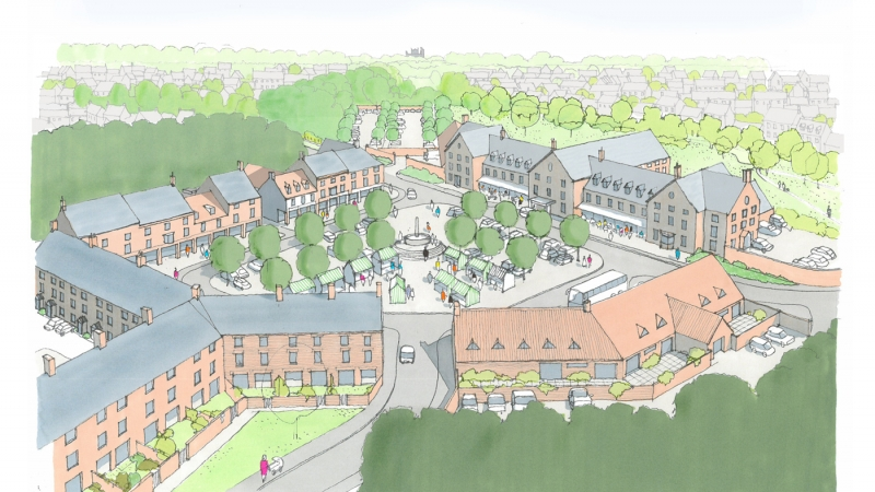 Flaxby Proposed Village Square View 2 1400x787